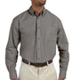 Harriton Mens Essential Long Sleeve Button Down Shirt w/ Pocket - Dark Grey