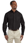Harriton M510T Mens Essential Long Sleeve Button Down Shirt w/ Pocket Black Front