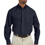 Harriton Mens Essential Long Sleeve Button Down Shirt w/ Pocket - Navy Blue