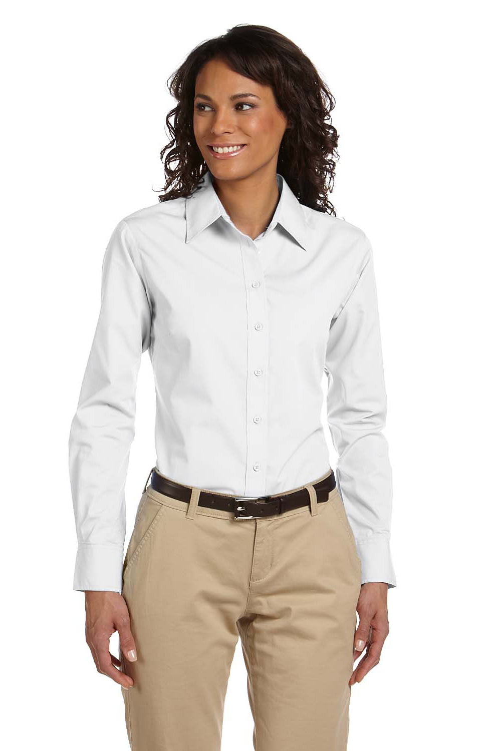 Harriton M510W Womens Essential Long Sleeve Button Down Shirt White Front