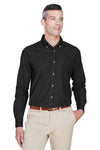Harriton M550T Mens Denim Long Sleeve Button Down Shirt w/ Pocket Black Front