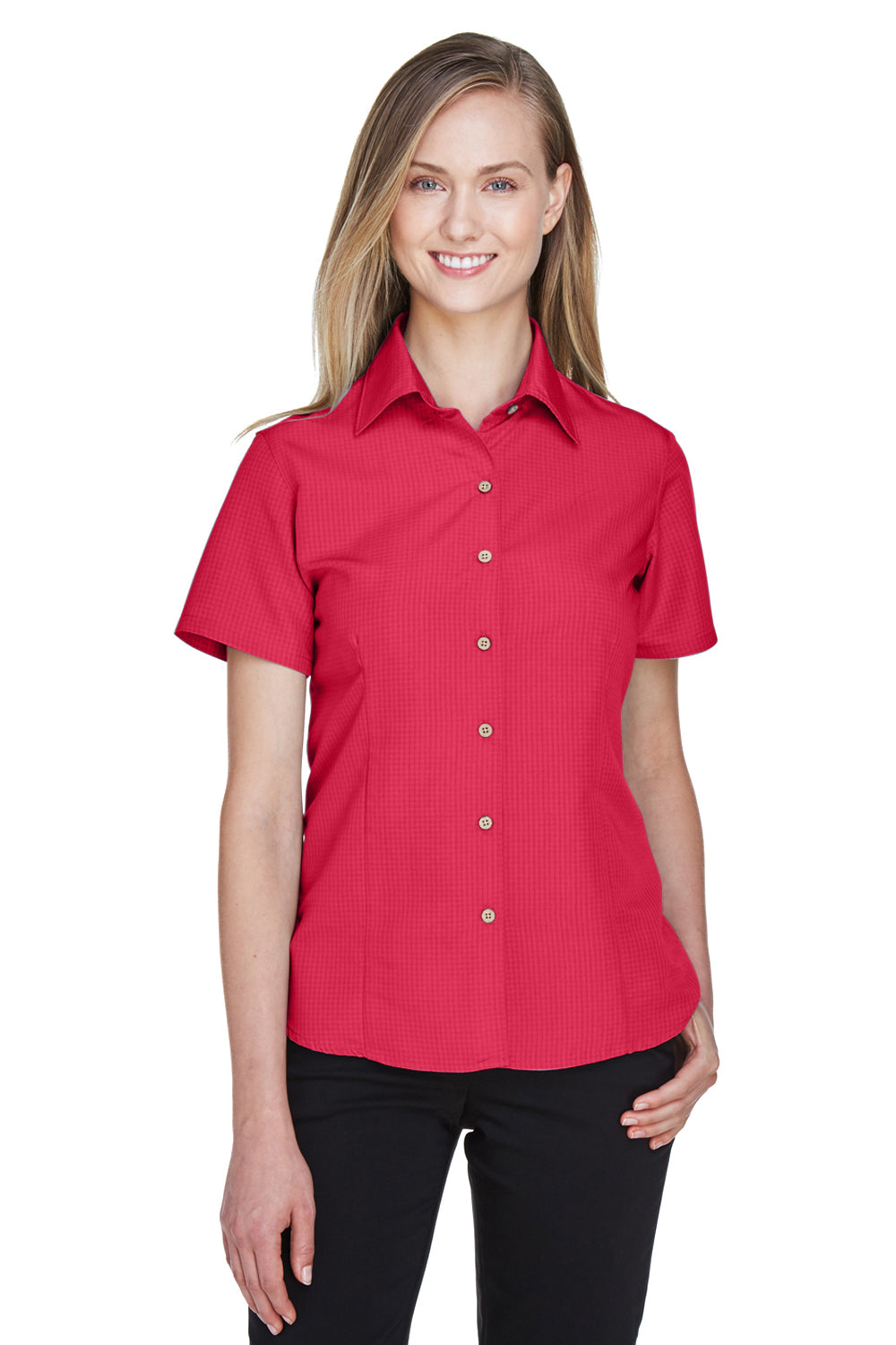 Harriton M560W Womens Barbados Wrinkle Resistant Short Sleeve Button Down Camp Shirt Red Front