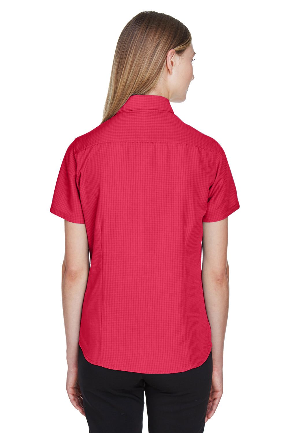 Harriton M560W Womens Barbados Wrinkle Resistant Short Sleeve Button Down Camp Shirt Red Back