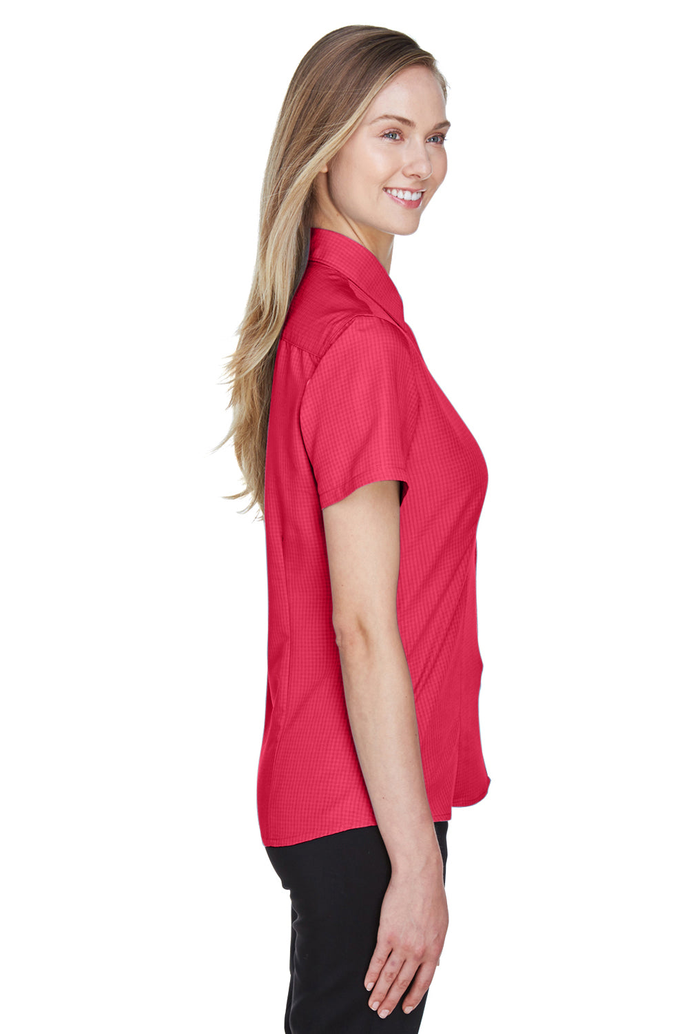 Harriton M560W Womens Barbados Wrinkle Resistant Short Sleeve Button Down Camp Shirt Red Side