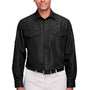 Harriton Mens Key West Performance Moisture Wicking Long Sleeve Button Down Shirt w/ Double Pockets - Black