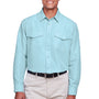 Harriton Mens Key West Performance Moisture Wicking Long Sleeve Button Down Shirt w/ Double Pockets - Cloud Blue