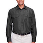 Harriton Mens Key West Performance Moisture Wicking Long Sleeve Button Down Shirt w/ Double Pockets - Dark Charcoal Grey