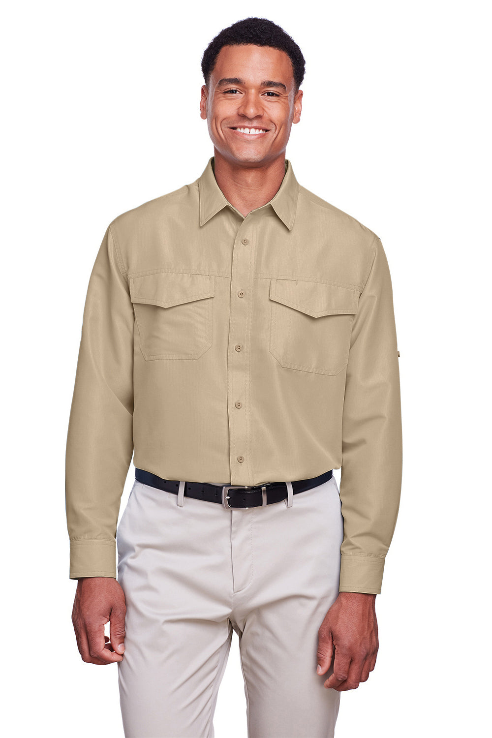Harriton M580L Mens Key West Performance Moisture Wicking Long Sleeve Button Down Shirt Khaki Brown Front