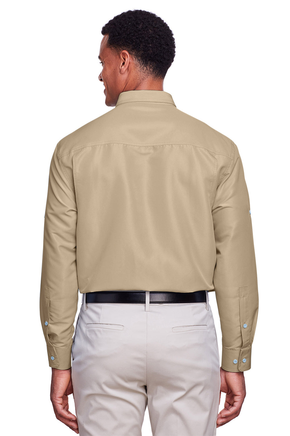 Harriton M580L Mens Key West Performance Moisture Wicking Long Sleeve Button Down Shirt Khaki Brown Back