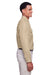 Harriton M580L Mens Key West Performance Moisture Wicking Long Sleeve Button Down Shirt Khaki Brown Side