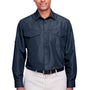 Harriton Mens Key West Performance Moisture Wicking Long Sleeve Button Down Shirt w/ Double Pockets - Navy Blue