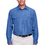 Harriton Mens Key West Performance Moisture Wicking Long Sleeve Button Down Shirt w/ Double Pockets - Pool Blue