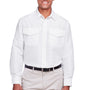 Harriton Mens Key West Performance Moisture Wicking Long Sleeve Button Down Shirt w/ Double Pockets - White