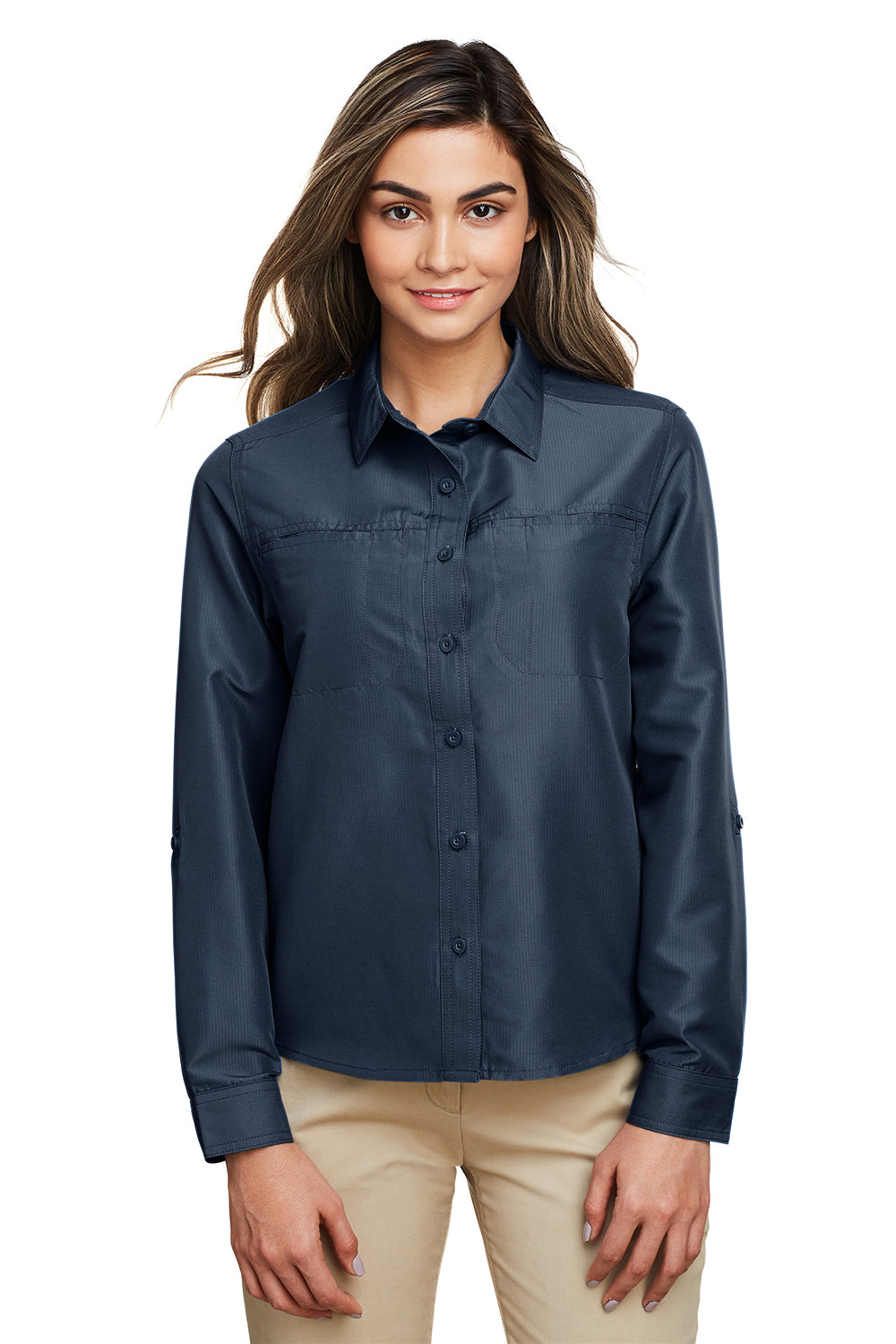 Harriton M580LW Womens Key West Performance Moisture Wicking Long Sleeve Button Down Shirt Navy Blue Front
