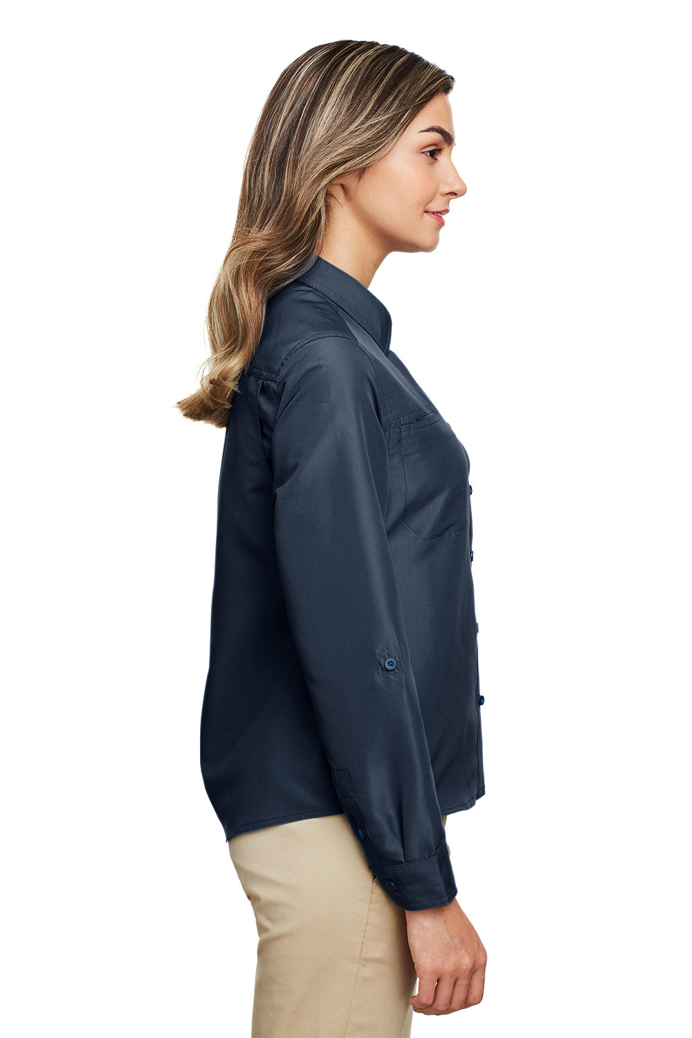 Harriton M580LW Womens Key West Performance Moisture Wicking Long Sleeve Button Down Shirt Navy Blue Side