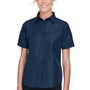 Harriton Womens Key West Performance Short Sleeve Button Down Shirt w/ Double Pockets - Navy Blue