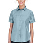 Harriton Womens Key West Performance Short Sleeve Button Down Shirt w/ Double Pockets - Cloud Blue