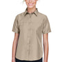 Harriton Womens Key West Performance Short Sleeve Button Down Shirt w/ Double Pockets - Khaki