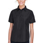 Harriton Womens Key West Performance Short Sleeve Button Down Shirt w/ Double Pockets - Black