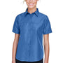 Harriton Womens Key West Performance Short Sleeve Button Down Shirt w/ Double Pockets - Pool Blue