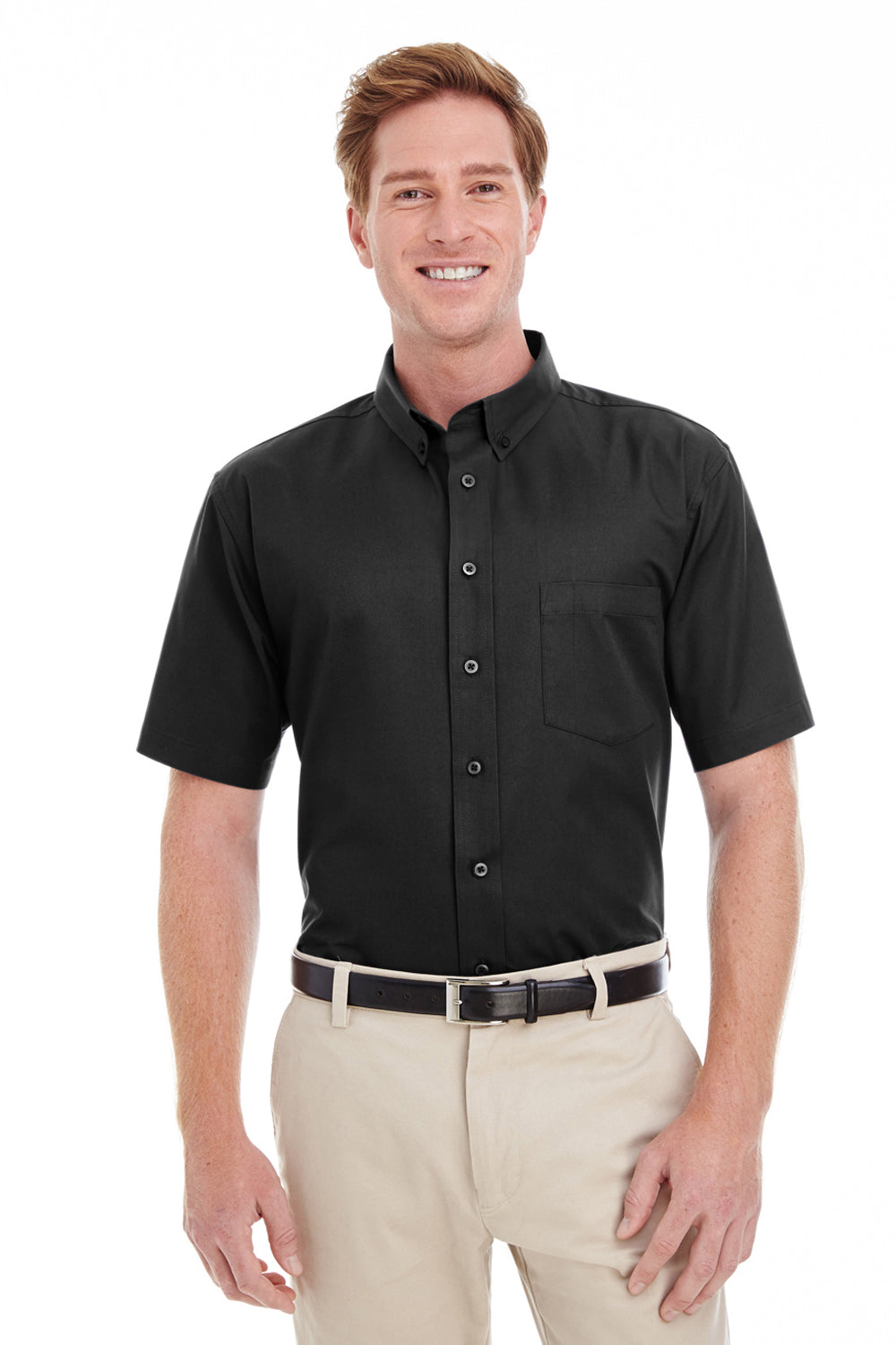 Harriton M582 Mens Foundation Stain Resistant Short Sleeve Button Down Shirt w/ Pocket Black Front