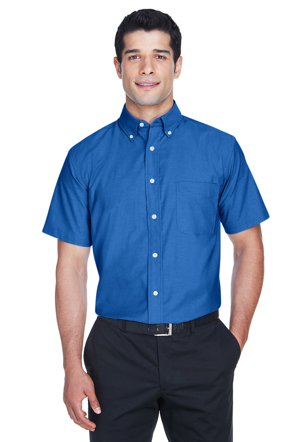 Harriton M600S Mens Oxford Wrinkle Resistant Short Sleeve Button Down Shirt w/ Pocket French Blue Front