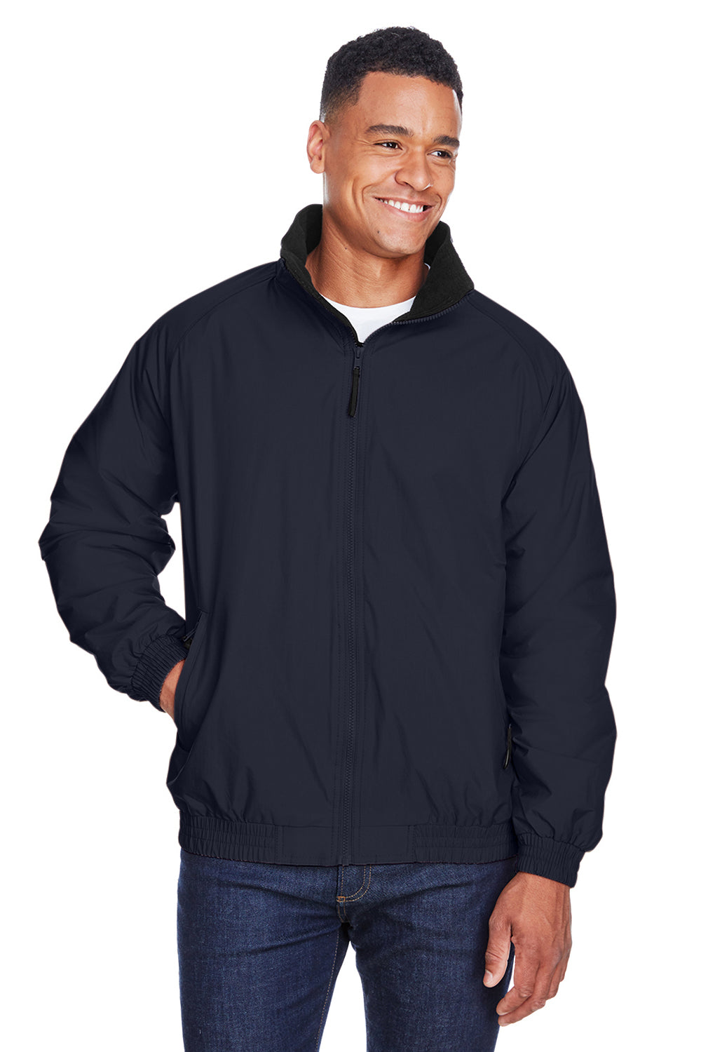 Harriton M740 Mens Wind & Water Resistant Full Zip Jacket Navy Blue Front