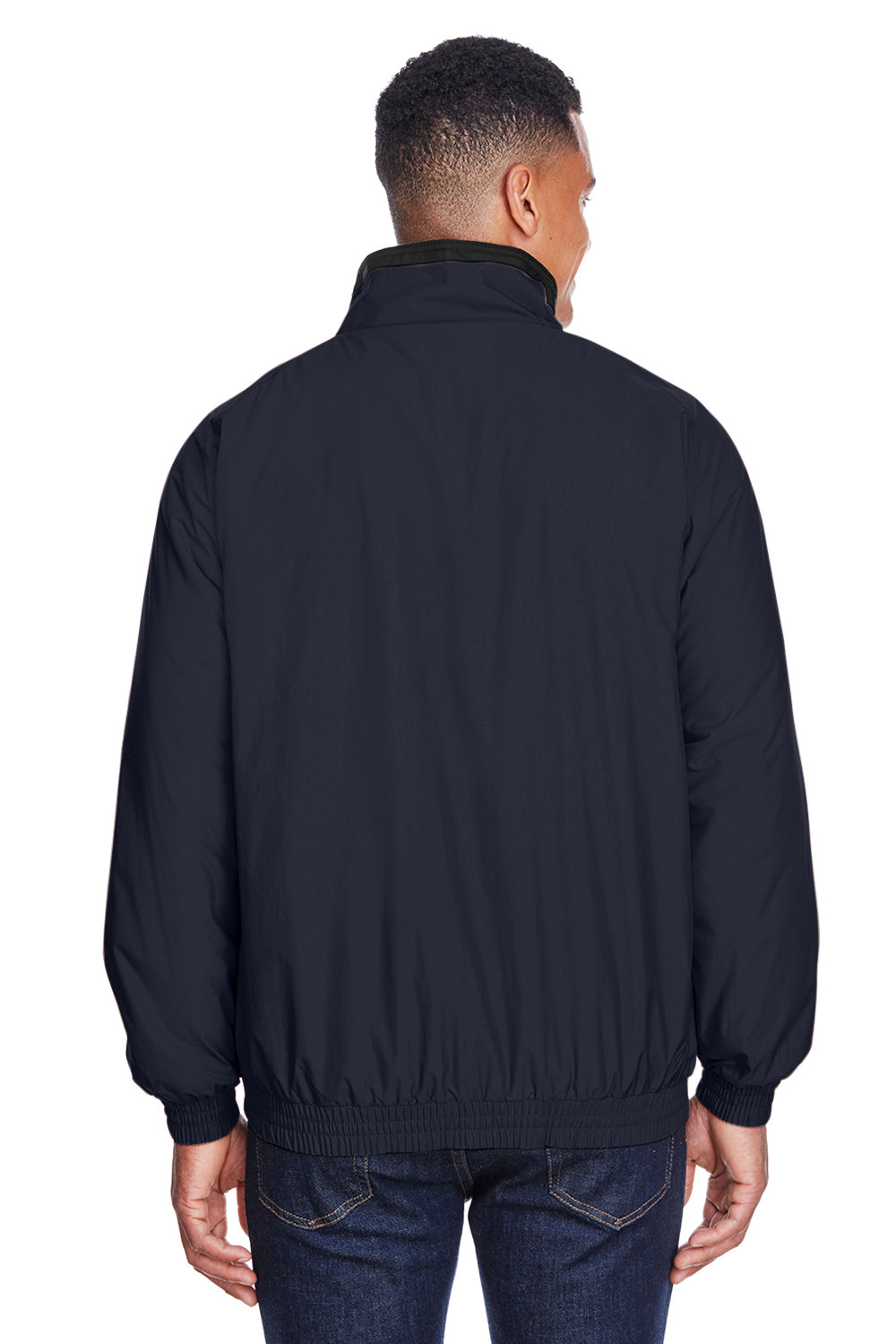 Harriton M740 Mens Wind & Water Resistant Full Zip Jacket Navy Blue Back