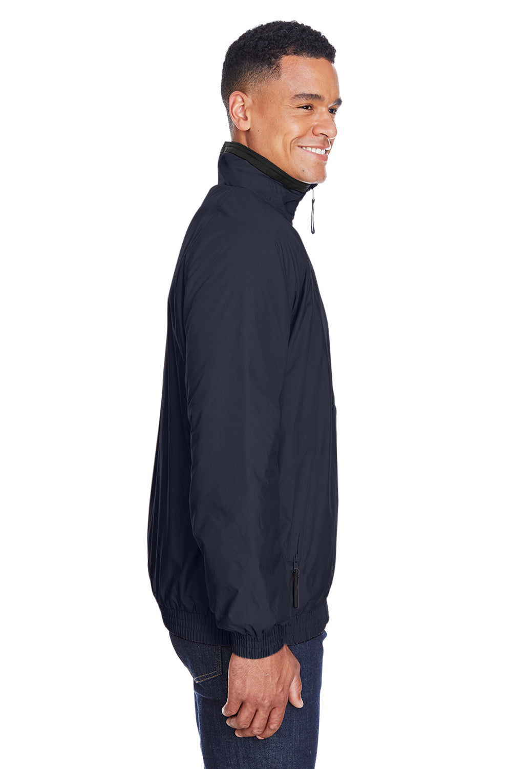 Harriton M740 Mens Wind & Water Resistant Full Zip Jacket Navy Blue Side