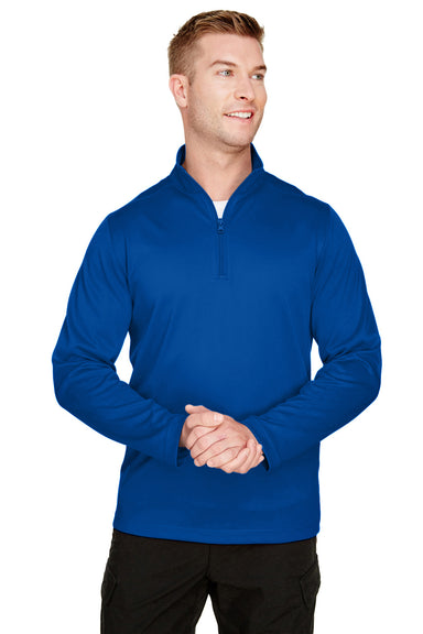 Harriton M748 Mens Advantage Performance Moisture Wicking 1/4 Zip Sweatshirt Royal Blue Front