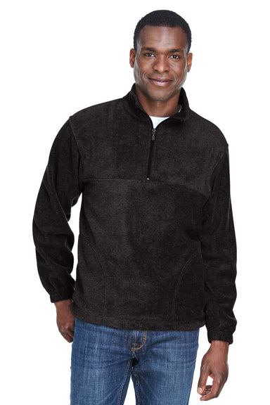 Harriton M980 Mens Fleece 1/4 Zip Sweatshirt Black Front