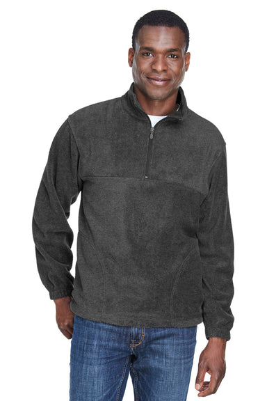 Harriton M980 Mens Fleece 1/4 Zip Sweatshirt Charcoal Grey Front