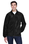 Harriton M990T Mens Full Zip Fleece Jacket Black Front