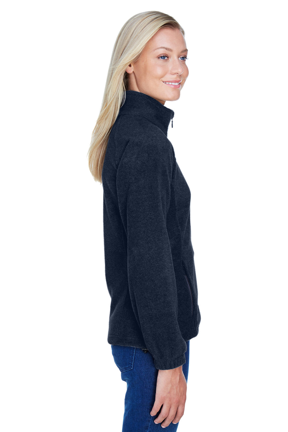 Harriton M990W Womens Full Zip Fleece Jacket Navy Blue Side