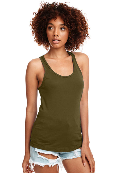Next Level N1533 Womens Ideal Jersey Tank Top Military Green Front
