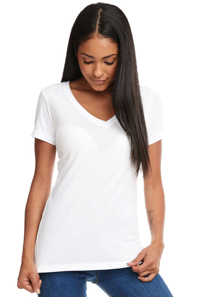 Next Level N1540 Womens Ideal Jersey Short Sleeve V-Neck T-Shirt White Front