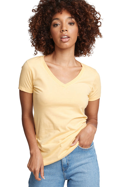 Next Level N1540 Womens Ideal Jersey Short Sleeve V-Neck T-Shirt Yellow Front