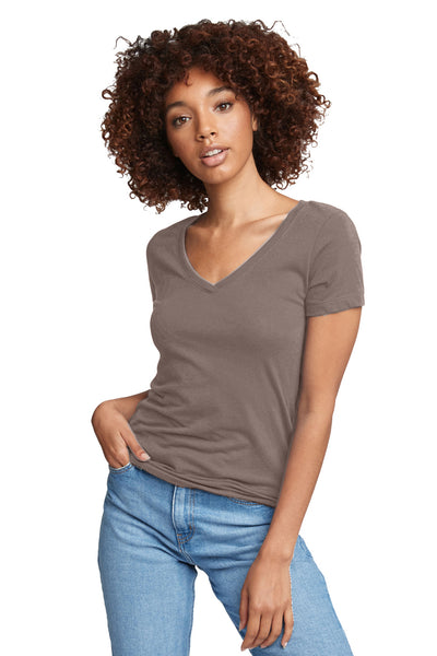 Next Level N1540 Womens Ideal Jersey Short Sleeve V-Neck T-Shirt Warm Grey Front