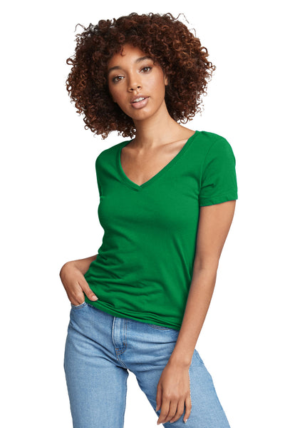 Next Level N1540 Womens Ideal Jersey Short Sleeve V-Neck T-Shirt Kelly Green Front