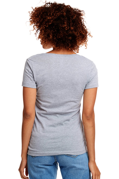 Next Level N1540 Womens Ideal Jersey Short Sleeve V-Neck T-Shirt Heather Grey Back