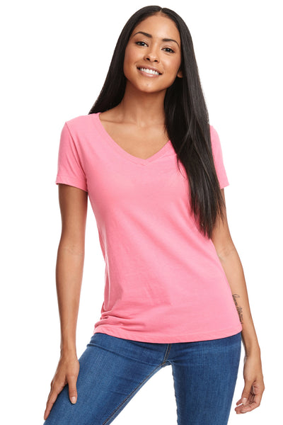 Next Level N1540 Womens Ideal Jersey Short Sleeve V-Neck T-Shirt Hot Pink Front