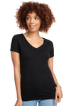 Next Level N1540 Womens Ideal Jersey Short Sleeve V-Neck T-Shirt Black Front
