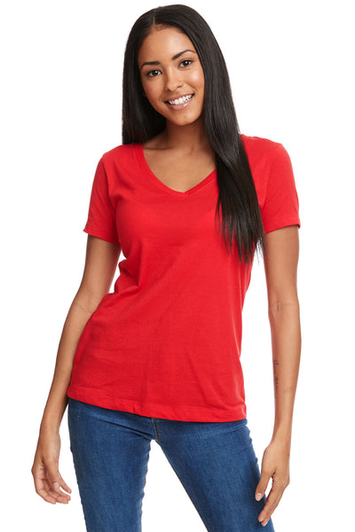 Next Level N1540 Womens Ideal Jersey Short Sleeve V-Neck T-Shirt Red Front