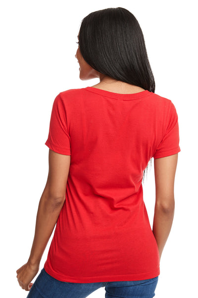 Next Level N1540 Womens Ideal Jersey Short Sleeve V-Neck T-Shirt Red Back