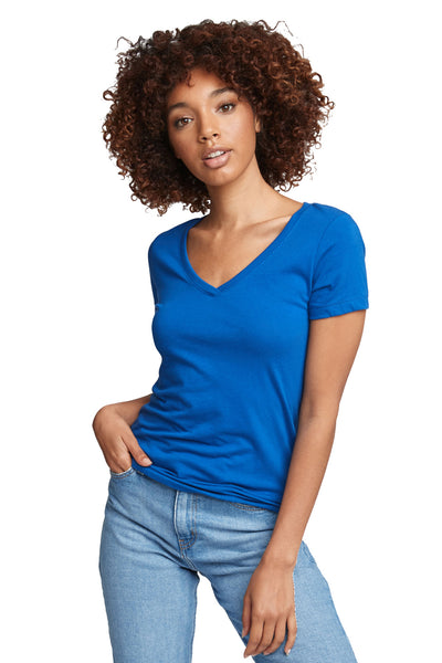 Next Level N1540 Womens Ideal Jersey Short Sleeve V-Neck T-Shirt Royal Blue Front