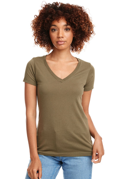 Next Level N1540 Womens Ideal Jersey Short Sleeve V-Neck T-Shirt Military Green Front