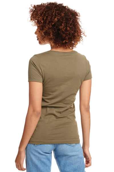 Next Level N1540 Womens Ideal Jersey Short Sleeve V-Neck T-Shirt Military Green Back