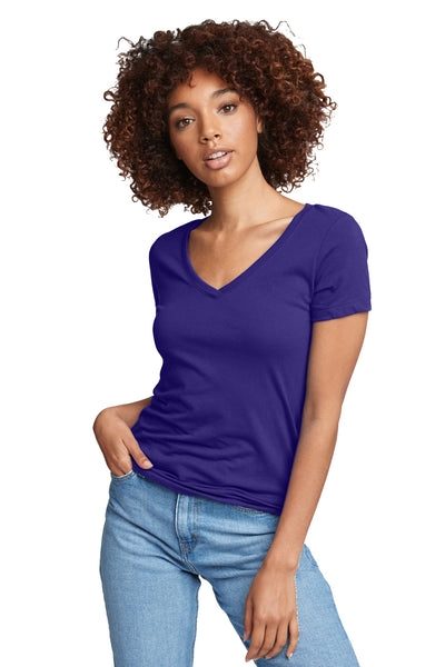 Next Level N1540 Womens Ideal Jersey Short Sleeve V-Neck T-Shirt Purple Rush Front