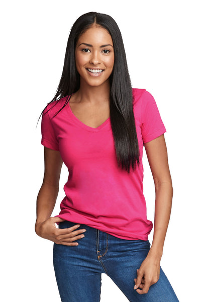 Next Level N1540 Womens Ideal Jersey Short Sleeve V-Neck T-Shirt Raspberry Pink Front
