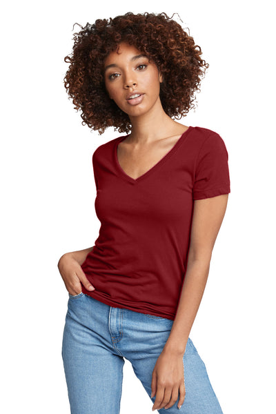 Next Level N1540 Womens Ideal Jersey Short Sleeve V-Neck T-Shirt Scarlet Red Front